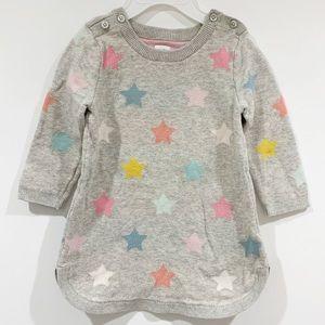 Baby Gap knit sweater dress grey with stars 12-18M
